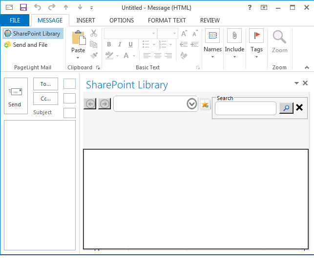 SharePoint library can be opened in Outlook email task pane