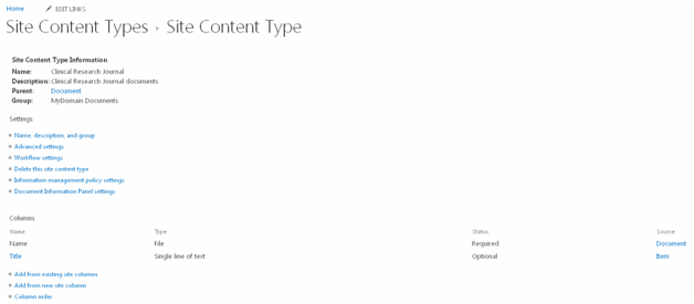 Content type to inherit document content type